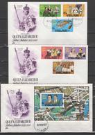 Maldives 1977 Queen Elizabeth II Silver Jubilee Set Of 6 + S/s On 3 FDC - Case Reali