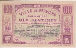 Ville De Verviers- Bon De Caisse - Billet De Nécessité - Verviers 10c. Dix-Centimes - [ 3] Ocupaciones Alemanas En Bélgica