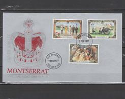 Montserrat 1977 Queen Elizabeth II Silver Jubilee Set Of 3 On FDC - Case Reali