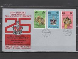 New Hebrides British 1977 Queen Elizabeth II Silver Jubilee Set Of 3 On FDC - Case Reali