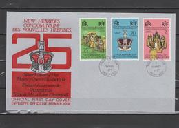New Hebrides French 1977 Queen Elizabeth II Silver Jubilee Set Of 3 On FDC - Case Reali