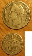 Napoléon III - 50 Centimes 1867BB - Francia