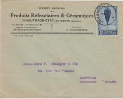 """Belgique  N°354 Ballon Piccard Enveloppe Produits"""" Céramiques """" D'Hautrage-Etat-lez-Tertre 1933 - Belgien"""