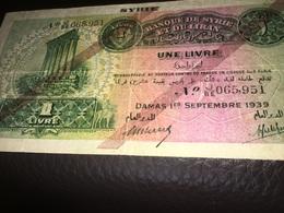 See Photos. SYRIA & Lebanon 1 Livre 1939. Circulated - Siria