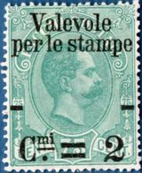 Italy Kingdom 1890, 2c Overprint On 75c 1 Value Unused No Gum  - 2004.0621 - Gebraucht