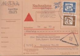 BRD  348 Y, 355 Y MiF Auf Nachnahmekarte, Mit Stempel Celle 10.9.1963 - Storia Postale