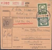BRD  350 Y, 358 Y,362 Y MiF Auf Paketekarte, Mit Stempel: Frankfurt Main 5.1.1963 - Storia Postale