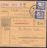 BRD  352 Y, 358 Y,3x 361 Y MiF Auf Paketekarte, Mit Stempel: Frankfurt Main 6.8.1963 - Storia Postale