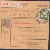 BRD  362 Y EF Auf Paketekarte, Mit Stempel: Frankfurt Main 5.1.1963 - Storia Postale