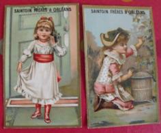 2 Chromos Confiserie Saintoin Frères, Orléans. Chromo Image. Vers 1880-1890. Fillette - Snoepgoed & Koekjes