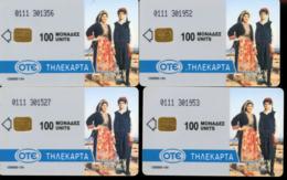 Four (4) Unused Phonecards OTE 100 Units. (c-615) - Grèce