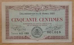 Chambéry ( 73-Savoie ) 50 Centimes Chambre De Commerce 12 Avril 1920 - Chambre De Commerce