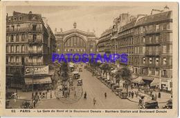 131993 FRANCE PARIS THE STATION TRAIN NORTH & BOULEVARD DENAIN  POSTAL POSTCARD - Francia