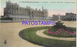 131999 FRANCE SAINT GERMAIN EN LAYE THE CASTLE & CHURCH STATION TRAIN POSTAL POSTCARD - Francia