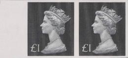 GREAT BRITAIN 1970-72 Machin £1 IMPERF.PAIR MARG - Grossbritannien
