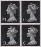 GREAT BRITAIN 1970-72 Machin £1 IMPERF.4-BLOCK - Grossbritannien