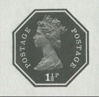 GREAT BRITAIN 1973 E2 Octagon 1½p Ser.I Black IMPERF Pp:.gum GB - Grossbritannien