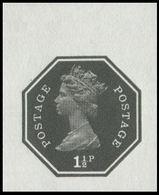 GREAT BRITAIN 1973 E2 Machin Octagon 1½p Ser.I Black MARG.IMPERF Pp:gum GB - Grossbritannien