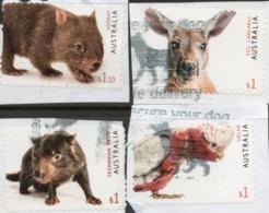 2019 AUSTRALIA - Kangaroo, Galah, Tasmanian Devil, Lizard All 4 X $1 Stamps On Paper - Oblitérés