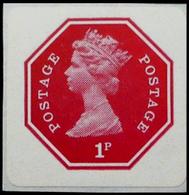 GREAT BRITAIN 1974 EII Machin Octagon 1st 1p Imperf Self Adhesive  Red [PRINT:1000] GB - Grossbritannien