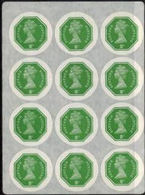 GREAT BRITAIN 1974 E2 Octagon 2p Ser.III IMPERF.COMPLETE SHEET:12 Stamps [PRINT:1000] - Grossbritannien