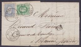 """L. Affr. N°30+31 Càd TOURNAI /1 SEPT 1873 Pour BEAUNE - Càd Ambulant """"BELGIQUE /1 SEPT 73/ AMB.LIL.CAL.B"""" [PD] (au Dos: - 1869-1883 Léopold II"""