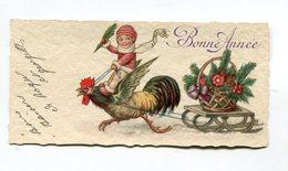 Carte Mignonette : Bonne Année Illustrateur Avec Coq : Format 108*53 Mm Pour Famille Hourlier à Bézannes  A  VOIR  !!! - Illustrators & Photographers