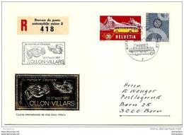 """166 - 5 - Enveloppe Suisse Avec Oblit Spéciale """"Champ Du Monde Et D'europe Ollon -Villars 1967"""" - Automobile"""