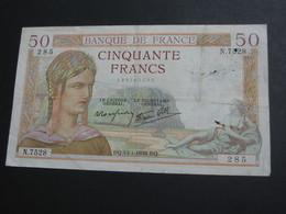 50 Cinquante Francs - CERES Type 1933 Modifié - 13-1-1938     **** EN ACHAT IMMEDIAT **** - 50 F 1934-1940 ''Cérès''