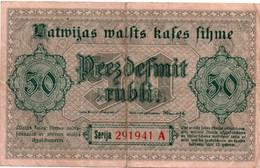 Latwijas 50 Rubel - 1919 - Lettlands Staats Kassenschein - !! Plié Et Usagé - Lettonie