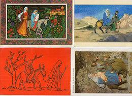ANES - 4 CP - Marie, Joseph, Jésus Et Ane Père Noël  (118644) - Anes