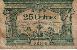 Angers 25 Centimes 1917 - Chambre De Commerce - 7,5 X 5 Cm - Chambre De Commerce