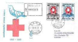 Fdc Venetia  N° 202 : CROCE ROSSA 1963 ; Raccomandata; AF_Roma - F.D.C.