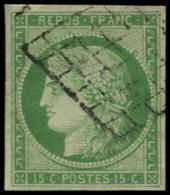 FRANCE Poste O - 2, Oblitération Grille, Belles Marges, Signé Marquelet: 15c. Vert - Cote: 1000 - 1849-1850 Cérès