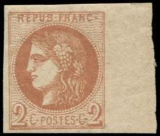 FRANCE Poste * - 40B, Report II, Bord De Feuille à Droite, Signé Calves: 2c. Brun-rouge - Cote: 360 - 1870 Emission De Bordeaux
