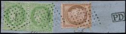 FRANCE Poste O - 53, En Paire + 58 Sur Fragment, Tous Oblitération Ancre - Cote: 205 - 1871-1875 Cérès