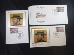 """BELG.1989 2346 FILATELIST FDC SILK MCARD & FDC & FDC SILK WITH FIRST DAY STAMPS : """" DAMIAAN  """" - 1981-90"""