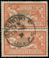 FRANCE Poste O - 145c, Paire Verticale Dont 1 Ex. écusson Cassé (2 Dents Courtes à Droite): 2f. Merson - Cote: 305 - France