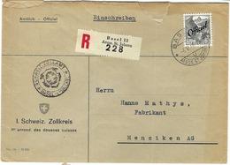 SUISSE Service 1949: LSC  Rec. De Basel Affranchie à 40c. Pour Menziken Avec Le  ZNr. 54, Beaux CAD - Officials