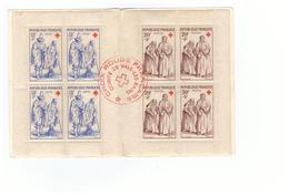 1957 Carnet Croix Rouge Oblitéré Oblitération 1957 Sur Couverture Cachet Rouge Comité Vals Les Bains Timbres N°1140 1141 - Croix Rouge