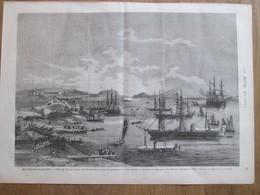 Gravure  1873 Nouvelle-Calédonie  Nouméa   Fetes Du 19 ème Anniversaire  LES REGATES Arrivée Le Danaé - Oude Documenten