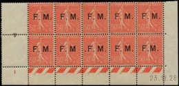 FRANCE Franchise ** - 6, Bloc De 10 Dont 6a/6b/6c, Cd 23/11/28: 50c. Rouge Semeuse - Cote: 291 - Franchise Militaire (timbres)