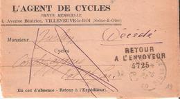 Lot Et Garonne :- MONSEMPRON-LIBOS Griffe Linéaire RETOUR A L'ENVOYEUR 4725 - Postmark Collection (Covers)