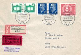 5010 Erfurt - 500 Jahre Post - R-Brief - Brandenburger Tor - Mischfrankatur 2.10.1990 - Other