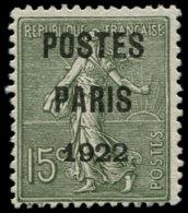 """FRANCE Préoblitérés (*) - 31a, Signé Calves, """"Poste Paris 1922"""": 15c. Vert-bronze Semeuse - Cote: 500 - Préoblitérés"""