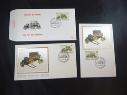 """BELG.1989 2322 FILATELIST FDC SILK MCARD & FDC & FDC SILK WITH FIRST DAY STAMPS : """" JOURNEE DU TIMBRE """" - FDC"""