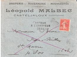 Lot Et Garonne :- SOS Griffe Linéaire RETOUR A L'ENVOYEUR 3442 - Postmark Collection (Covers)