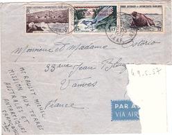 TAAF - Lettre Par Avion - Rare - Timbre De Madagascar 1954 Surcharge En Rouge - Kerguelen Pour Vannes 29-05-1957 - Terres Australes Et Antarctiques Françaises (TAAF)