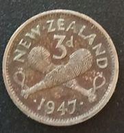 NOUVELLE ZELANDE - NEW ZEALAND - 3 PENCE 1947 - GEORGE VI - KM 7a - Nuova Zelanda