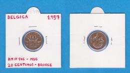 BELGICA  20  CENTIMOS  1.957   BRONCE  KM# 146  MBC  / VF    DL-12.397 - 01. 20 Centimes